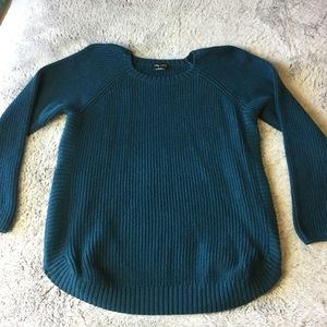 City Chic Teal Sweater with side zips XS/14